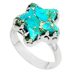 6.93cts star blue copper turquoise 925 sterling silver ring size 8.5 t50576
