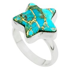 5.63cts star blue copper turquoise 925 sterling silver ring size 6.5 t50581