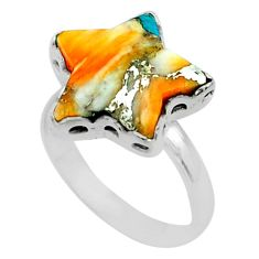 7.24cts star blue spiny oyster arizona turquoise 925 silver ring size 8 t50509