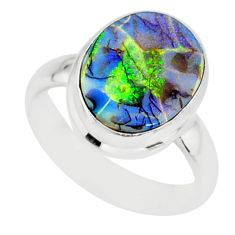 3.65cts sterling opal 925 sterling silver solitaire ring jewelry size 6 r84507