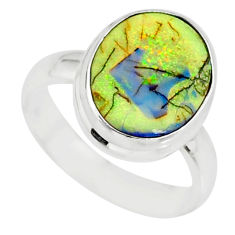 3.83cts sterling opal 925 sterling silver solitaire ring jewelry size 6 r84512