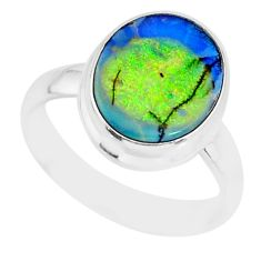 4.06cts sterling opal 925 sterling silver solitaire ring jewelry size 7 r84495