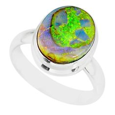 4.21cts sterling opal 925 sterling silver solitaire ring jewelry size 7 r84497