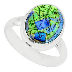 3.87cts sterling opal 925 sterling silver solitaire ring jewelry size 7 r84536