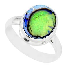 4.43cts sterling opal 925 sterling silver solitaire ring jewelry size 8 r84498