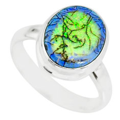 3.65cts sterling opal 925 sterling silver solitaire ring jewelry size 8 r84516