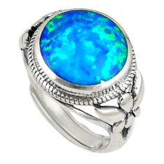 Sterling silver blue australian opal (lab) adjustable ring size 6 a73637 c24413