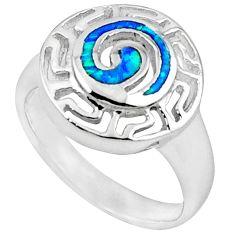925 sterling silver blue australian opal (lab) enamel ring size 5.5 c15751