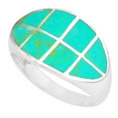 Sterling silver 5.89gms fine green turquoise enamel ring size 9 a88579 c13359