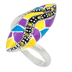 925 sterling silver fine marcasite multi color enamel ring size 7.5 c16188