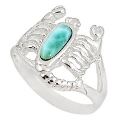 Sterling silver natural blue larimar scorpion charm ring size 9 a60731 c15181