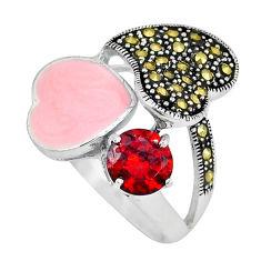 925 sterling silver natural red garnet marcasite enamel ring size 7 c18267