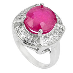 925 sterling silver 6.58cts natural red ruby white topaz ring size 5.5 c17759