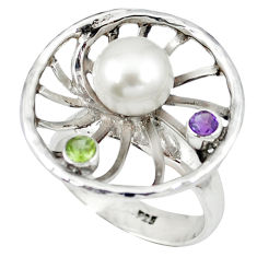 925 sterling silver natural white pearl purple amethyst ring size 7 c16975