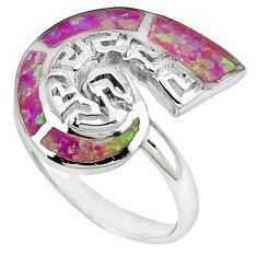 925 sterling silver pink australian opal (lab) enamel ring size 5.5 c15741