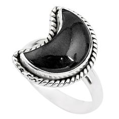 Sterling silver 6.10cts moon natural black onyx fancy ring size 7 t22156