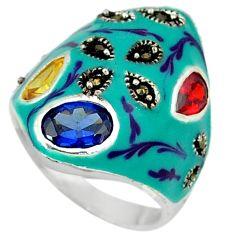 Swiss blue sapphire quartz marcasite enamel 925 silver ring size 6.5 c18533
