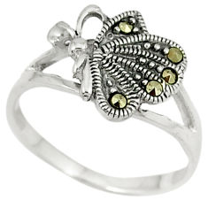 Swiss marcasite 925 sterling silver butterfly ring jewelry size 7.5 c22980