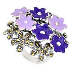 13.02gms swiss marcasite enamel 925 sterling silver flower ring size 6 c15942