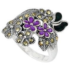 Swiss marcasite enamel 925 sterling silver flower ring jewelry size 5.5 c20785
