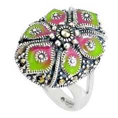 6.26gms swiss marcasite enamel 925 sterling silver ring size 6.5 c21423
