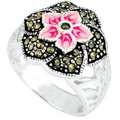 Swiss marcasite enamel 925 sterling silver ring jewelry size 8.5 c18466