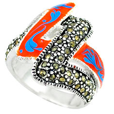 Swiss marcasite enamel 925 sterling silver ring jewelry size 6.5 c18351