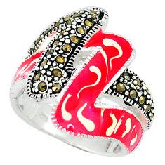 Swiss marcasite enamel 925 sterling silver ring jewelry size 6.5 c18355