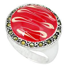 Swiss marcasite enamel 925 sterling silver ring jewelry size 7.5 c18255