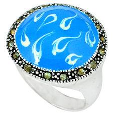 Swiss marcasite enamel 925 sterling silver ring jewelry size 6.5 c18260