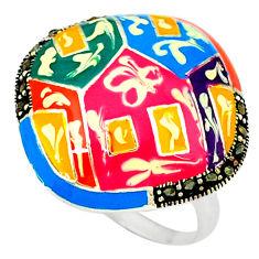 Swiss marcasite enamel 925 sterling silver ring jewelry size 8.5 c18264