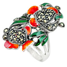 Swiss marcasite enamel 925 sterling silver ring jewelry size 6.5 c18604