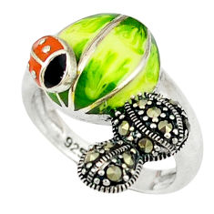 Swiss marcasite enamel 925 sterling silver ring jewelry size 6.5 c18704