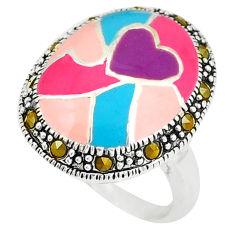 Swiss marcasite enamel 925 sterling silver ring jewelry size 6.5 c18371