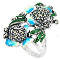 Swiss marcasite enamel 925 sterling silver ring jewelry size 8.5 c16128