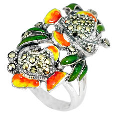 Swiss marcasite enamel 925 sterling silver ring jewelry size 7.5 c16121