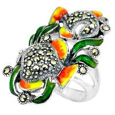 Swiss marcasite enamel 925 sterling silver ring jewelry size 6.5 c16133