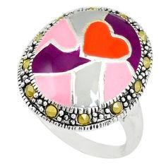 Swiss marcasite enamel 925 sterling silver ring jewelry size 8 c18369