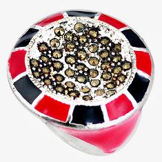 10.63gms swiss marcasite enamel 925 sterling silver ring jewelry size 6 c18433