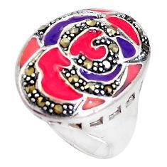 7.69gms swiss marcasite enamel 925 sterling silver ring jewelry size 8 c18284