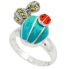 Swiss marcasite multi color enamel 925 sterling silver ring size 8.5 c16094