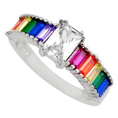 5.54cts topaz ruby peridot quartz 925 silver eternity ring band size 7.5 c26518