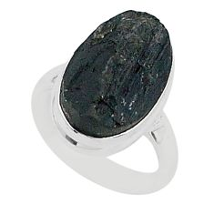 Ultimate protection black tourmaline raw 925 sterling silver ring size6 r96668