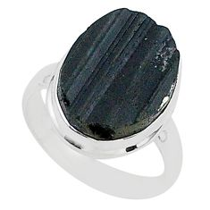 Ultimate protection black tourmaline raw 925 sterling silver ring size8 r96671