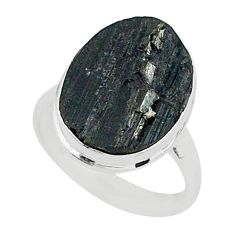 Ultimate protection black tourmaline raw 925 sterling silver ring size8 r96676
