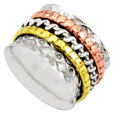 7.02gms victorian 925 silver 14k gold two tone spinner band ring size 9.5 d46313