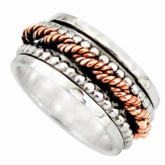 7.24gms victorian 925 silver two tone spinner band ring size 7.5 d46326