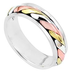 4.23gms victorian 925 silver two tone spinner band ring jewelry size 6.5 c20966