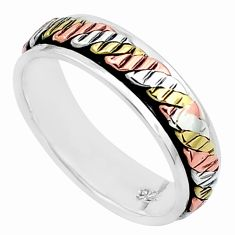 4.69gms victorian 925 silver two tone spinner band ring jewelry size 9.5 c20972