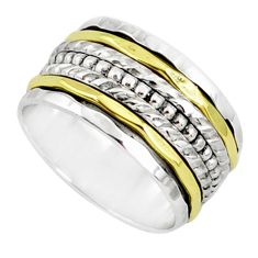 7.69gms victorian 925 silver two tone spinner band handmade ring size 7.5 r80593